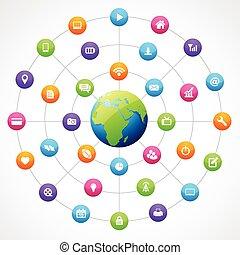 tierra, forma, con, social, medios
