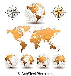 tierra, globos, con, mapa del mundo