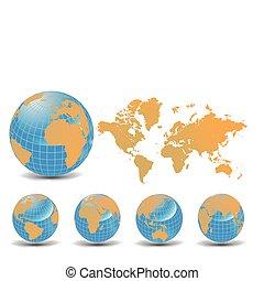 tierra, globos, conjunto