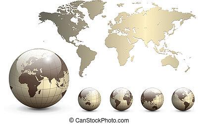 tierra, globos, y, mapa, de, el mundo