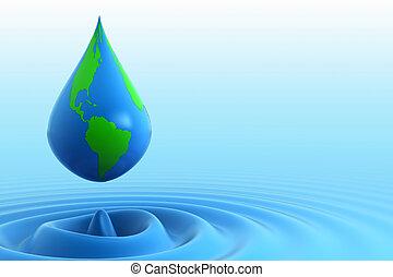tierra, gota agua