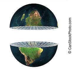 tierra, hemisferio, blanco, dos, aislado