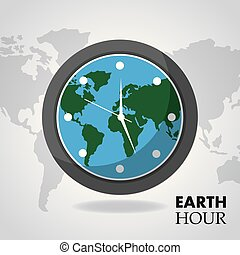 tierra, hora, globo, dentro, reloj, mapa el plano de fondo