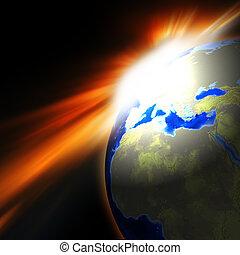 tierra, levantamiento, ilustración, sol