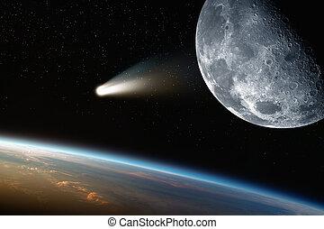 tierra, luna, cometa, en, espacio