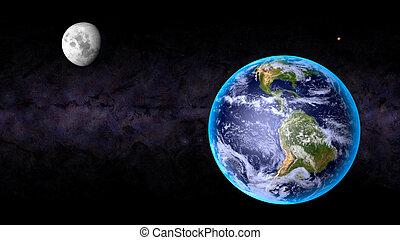 tierra, luna, marte