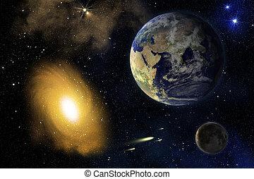 tierra, luna, y, galaxy.