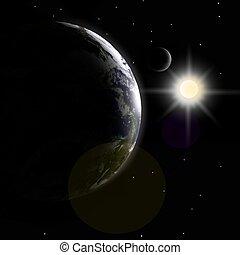 tierra, luna, y, luz del sol
