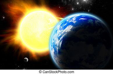 tierra, luna, y, sun.