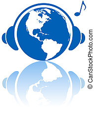 tierra, música, mundo, auriculares, en, hemisferio occidental, planeta