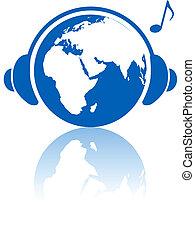 tierra, música, mundo, auriculares, en, hemisferio oriental, planeta