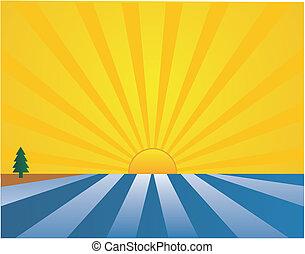 tierra, mar, salida del sol, ilustración