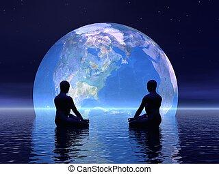 tierra, meditación, -, render, 3d
