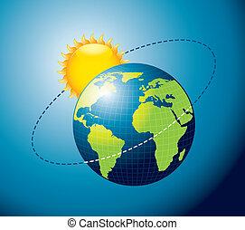 tierra, movimiento, alrededor, sol