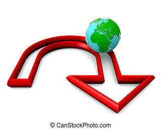 tierra, mudanza, por, rojo, u-turn, flecha