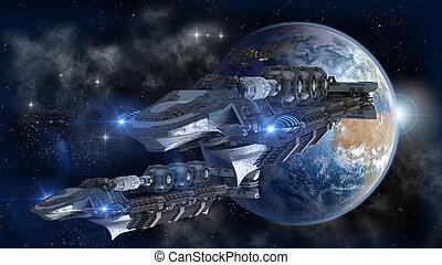 tierra, nave espacial, salida, flota