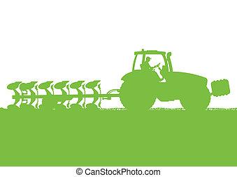 tierra, país, ilustración, campo, vector, grano, tractor, plano de fondo, cultivado, agricultura, arada, paisaje