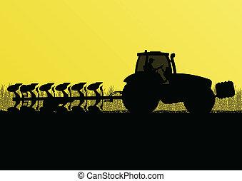 tierra, país, ilustración, campo, vector, grano, tractor, ...