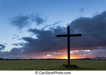 tierra plana, amanecer, cruz