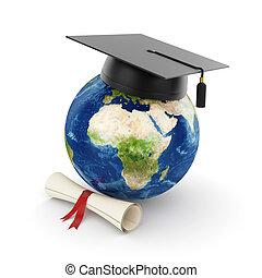 tierra, planeta, con, graduación