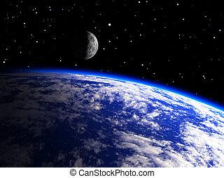 tierra, planeta, con, un, luna