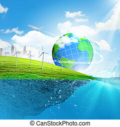 tierra, planeta, en, agua