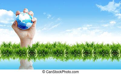 tierra, proteger, concepto