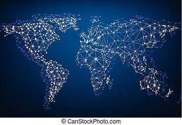 tierra, red, mesh., global, map.