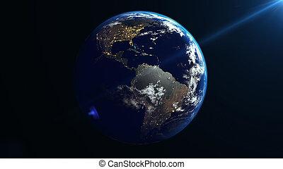 tierra, rotación, en, space.