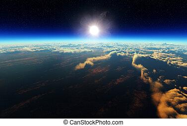 tierra, salida del sol, de, espacio exterior