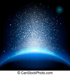 tierra, -, salida del sol, en, profundo, azul, space., eps, 10