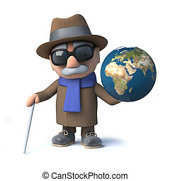 tierra, tiene, globo, divertido, viejo, invidente, caricatura, 3d, hombre, carácter