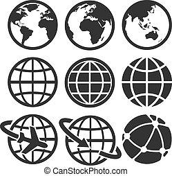 tierra, vector, iconos, set.