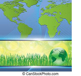tierra verde, mapa, ambiental, concepto