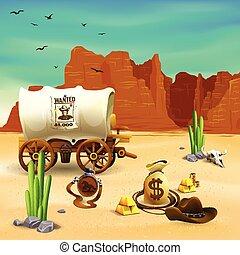 tierra virgen al oeste, accesorios, ilustración, vaquero