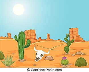 tierra virgen al oeste, paisaje, caricatura, desierto