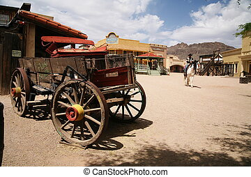 tierra virgen al oeste, viejo, carrito