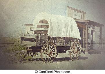 tierra virgen al oeste, viejo, rueda, vagón