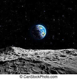 tierra, vistas, luna