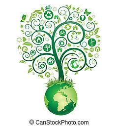 tierra, y, árbol verde