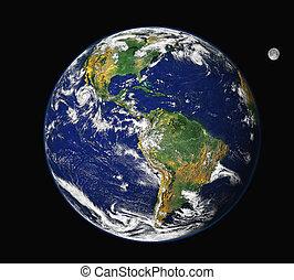 tierra, y, américa, -, luna