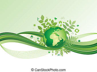 tierra, y, ambiente, icono, ba