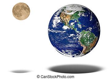 tierra, y, luna, flotar