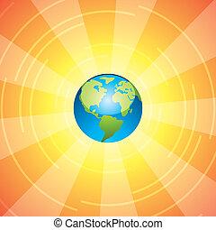 tierra, y, rayos sol