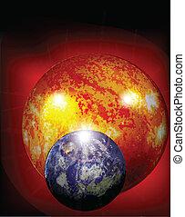 tierra, y, sol, en, cosmos