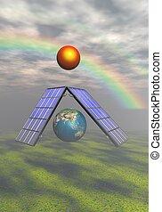 tierra, y, sol, y, solar