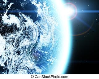 tierra, y, sun., espacio, salida del sol