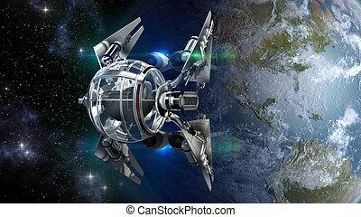 tierra, zángano, nave espacial, salida