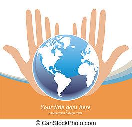 tierras, futuro, en, nuestro, manos, vector.