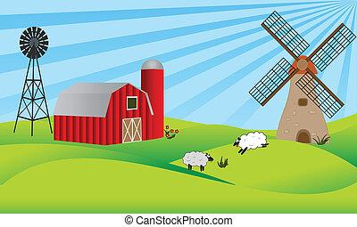 tierras labrantío, con, granero, y, molino de viento